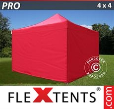 Pop up canopy PRO 4x4 m Red, incl. 4 sidewalls