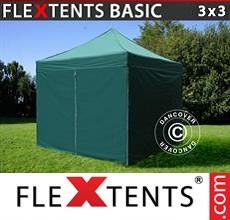 Pop up canopy Basic, 3x3 m Green, incl. 4 sidewalls