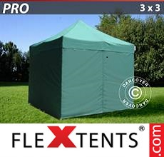 Pop up canopy PRO 3x3 m Green, incl. 4 sidewalls