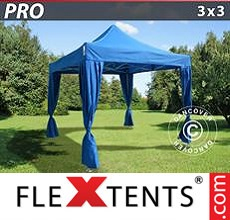 Pop up canopy PRO 3x3 m Blue, incl. 4 decorative curtains