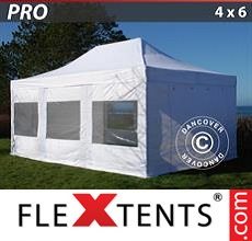Pop up canopy PRO 4x6 m White, incl. 8 sidewalls