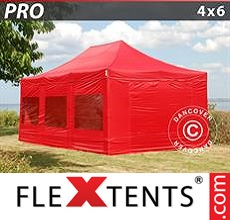 Pop up canopy PRO 4x6 m Red, incl. 8 sidewalls