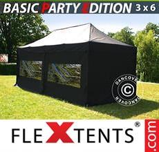 Pop up canopy Basic 3x6 m Black, incl. 6 sidewalls