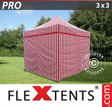 Pop up canopy PRO 3x3 m striped, incl. 4 sidewalls