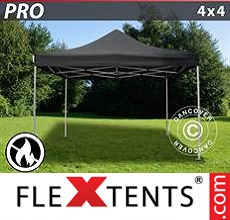 Pop up canopy PRO 4x4 m Black, Flame retardant