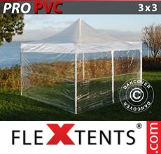 Pop up canopy PRO 3x3 m Clear, incl. 4 sidewalls