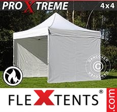 Pop up canopy Xtreme 4x4 m White, Flame retardant, incl. 4 sidewalls