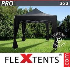 Pop up canopy PRO 3x3 m Black, incl. 4 decorative curtains