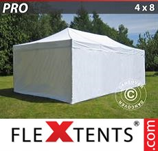 Pop up canopy PRO 4x8 m White, incl. 6 sidewalls