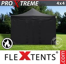 Pop up canopy Xtreme 4x4 m Black, Flame retardant, incl. 4 sidewalls