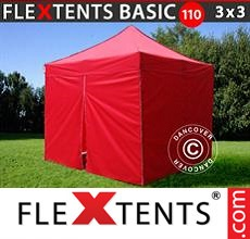 Pop up canopy Basic 110, 3x3 m Red, incl. 4 sidewalls