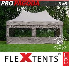 Pop up canopy PRO Peak Pagoda 3x6 m Latte, incl. 6 sidewalls