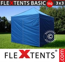 Pop up canopy Basic 110, 3x3 m Blue, incl. 4 sidewalls