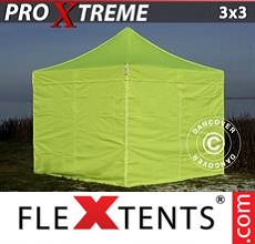 Pop up canopy Xtreme 3x3 m Neon yellow/green, incl. 4 sidewalls