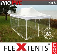 Pop up canopy PRO 4x6 m Clear, incl. 8 sidewalls