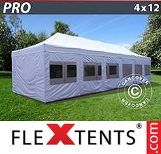 Pop up canopy PRO 4x12 m White, incl. sidewalls