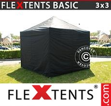 Pop up canopy Basic, 3x3 m Black, incl. 4 sidewalls