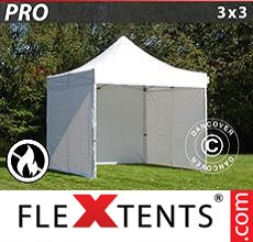 Pop up canopy PRO 3x3 m White, Flame retardant, incl. 4 sidewalls