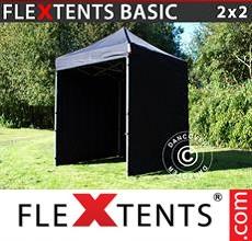 Pop up canopy Basic, 2x2 m Black, incl. 4 sidewalls