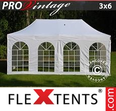 Pop up canopy PRO Vintage Style 3x6 m White, incl. 6 sidewalls