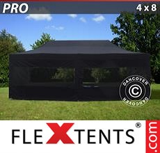 Pop up canopy PRO 4x8 m Black, incl. 6 sidewalls