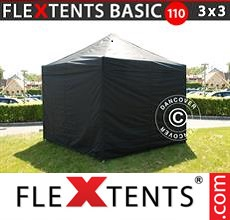 Pop up canopy Basic 110, 3x3 m Black, incl. 4 sidewalls