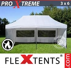 Racing tent Xtreme 3x6 m White, Flame retardant, incl. 6 sidewalls