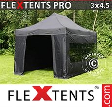 Racing tent FleXtents PRO 3x4.5 m Black, incl. 4 sidewalls