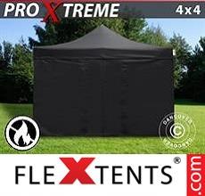 Racing tent Xtreme 4x4 m Black, Flame retardant, incl. 4 sidewalls