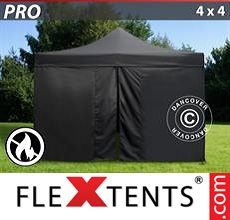Racing tent PRO 4x4 m Black, Flame retardant, incl. 4 sidewalls