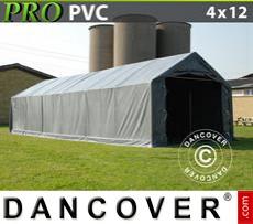 Tents PRO 4x12x2x3.1 m, PVC, Grey