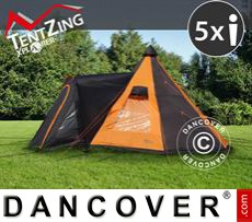Camping tents,  TentZing® Teepee, 5 persons, Orange/Dark Grey