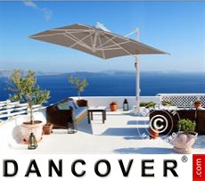 Cantilever parasol Galileo White, 3.5x3.5 m, Grey taupe