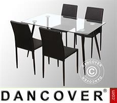 Dining set w/1 dining table Bologna, Clear/Black + 4 dining chairs Firenze,…