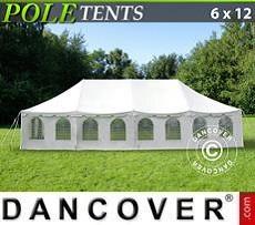 Pole tent 6x12 m PVC, White