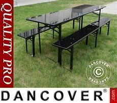 Beer Table Set, 240x60x76cm, Black