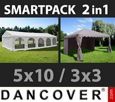 Party Marquee Original 5x10m, White/Gazebo 3x3m,