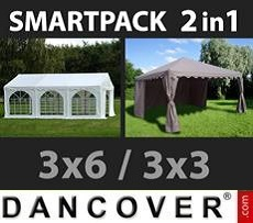 Party Marquee Original 3x6m, White/Gazebo 3x3m,