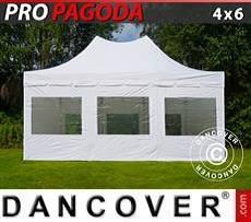 Party Marquee PRO Peak Pagoda 4x6 m White, incl. 8 sidewalls