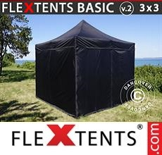 Pop up canopy Basic v.2, 3x3 m Black, incl. 4 sidewalls