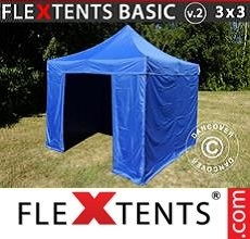 Pop up canopy Basic v.2, 3x3 m Blue, incl. 4 sidewalls