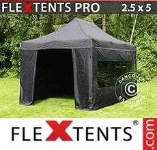 Pop up canopy PRO 2.5x5m Black, incl. 6 sidewalls