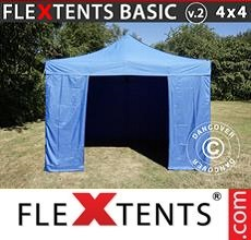 Pop up canopy Basic v.2, 4x4m m Blue, incl. 4 sidewalls