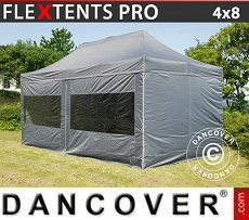 Pop Up Marquee PRO 4x8 m Grey, incl. 6 sidewalls