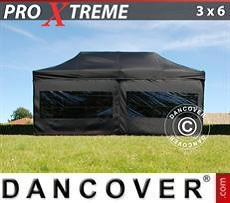 Pop Up Marquee Xtreme 3x6 m Black, incl. 6 sidewalls