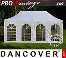 Pop Up Marquee PRO Vintage Style 3x6 m White, incl. 6 sidewalls