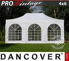 Pop Up Marquee PRO Vintage Style 4x6 m White, incl. 8 sidewalls