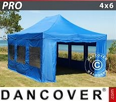 Pop Up Marquee PRO 4x6 m Blue, incl. 8 sidewalls