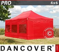 Pop Up Marquee PRO 4x6 m Red, incl. 8 sidewalls