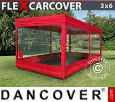 Portable GarageFleX Carcover, 3x6 m, Red